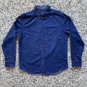 American Eagle Men's Blue Button Front Shirt Sz L
